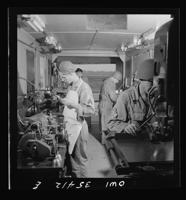 Greenville, South Carolina. Air Service Command. Working in the machine shop trailer of the 35th service squadron of the 25th service group