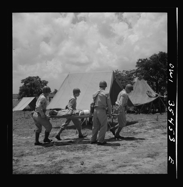 Greenville, South Carolina. Men of the medical unit of the 25th service group having litter drill