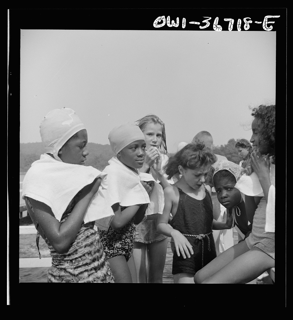 Haverstraw, New York. Interracial activities at Camp Christmas Seals, where children are aided by the Methodist Camp Service. The end of a swimming period