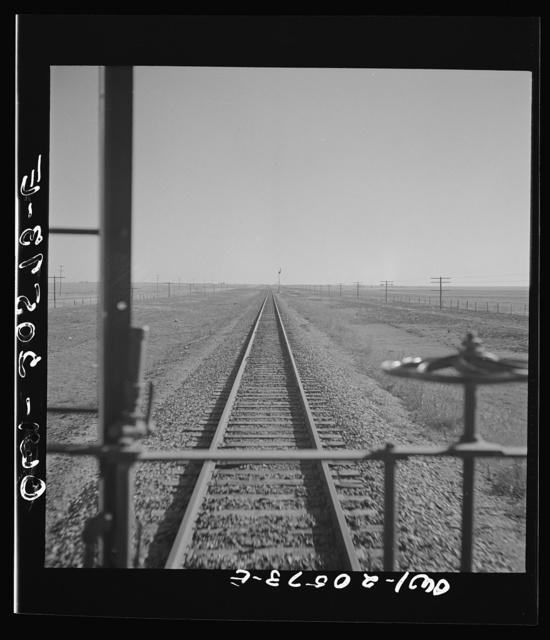 Hereford, Texas. Crossing Texas wheat country on the Atchison, Topeka, and Santa Fe Railroad between Amarillo, Texas and Clovis, New Mexico