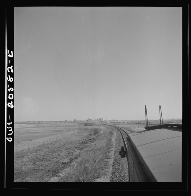 Hereford, Texas. Leaving the town on the Atchison, Topeka, and Santa Fe Railroad between Amarillo, Texas and Clovis, New Mexico