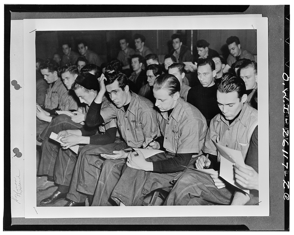 Hoffman Island, New York. Students at the United States Maritime Service training station