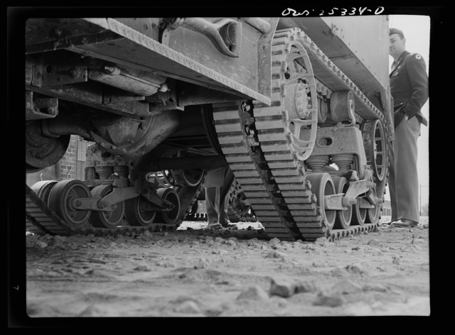 Holabird ordnance depot, Baltimore, Maryland. These rubber half-track treads cannot be recapped. Extreme care must therefore be taken to remove nails, glass and rocks from the grooves