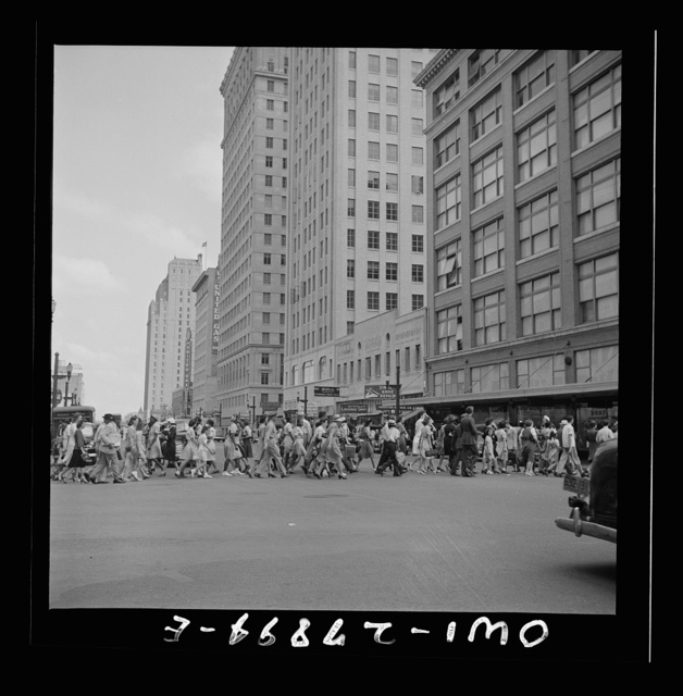 Houston, Texas. Crowds on downtown streets