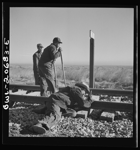 Iden, New Mexico. Section gang raising, surfacing and gauging the track in the Atchison, Topeka and Santa Fe Railroad yard. Assistant foreman is lining the track between Clovis and Vaughn, New Mexico