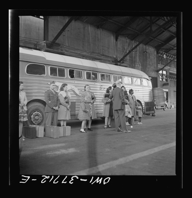 Indianapolis, Indiana. Bus passengers in the Greyhound terminal