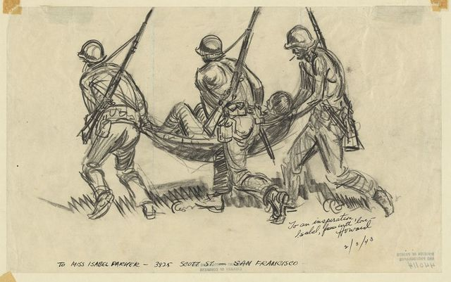[Infantrymen carrying back Jap prisoner shelter-half - was told Jap couldn't or wouldn't walk and wanted to die, Horses' Neck front]