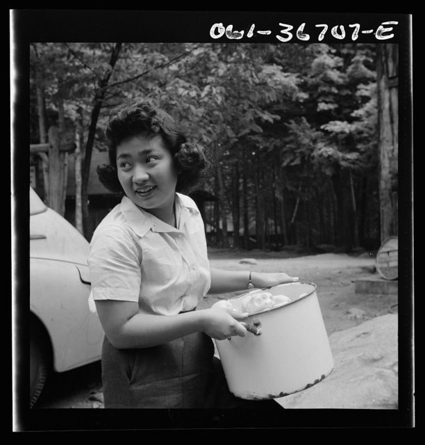 Interracial activities at Camp Ellen Marvin, where children are aided by the Methodist Camp Service. Miss Sumi Yumaguchi, Japanese dietican. Arden, New York