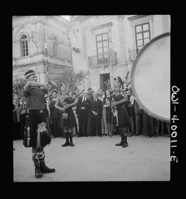 Italians love music, so the jock pipers of the British army entertained them frequently in the public square. Small liberties such as this touched the Sicilians deeply