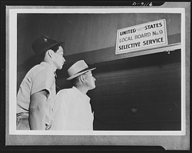 Japanese enlistment. These Americans of Japanese ancestry are about to enter their draft board at Waipahu, Territory of Hawaii, to apply for voluntary induction into the U.S. Army. They intend to fight for Uncle Sam as member of a combat regiment made up of 1,500 American citizens of Japanese ancestry. Yoshito Matsusaka (right), thirty-six, is a former lieutenant in the U.S. Army Reserve