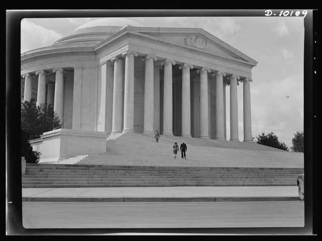 Jefferson Memorial. Exterior of the Jefferson Memorial, Washington, D.C. Dedicated on the third president's bi-centennial anniversary, April 12, 1943, the 3 million dollar building was designed by Russel Pope and is constructed of marble from Vermont, Missouri, Georgia and Tennessee