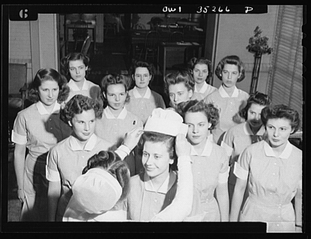 Johns Hopkins Hospital, Baltimore, Maryland. Capping a student nurse