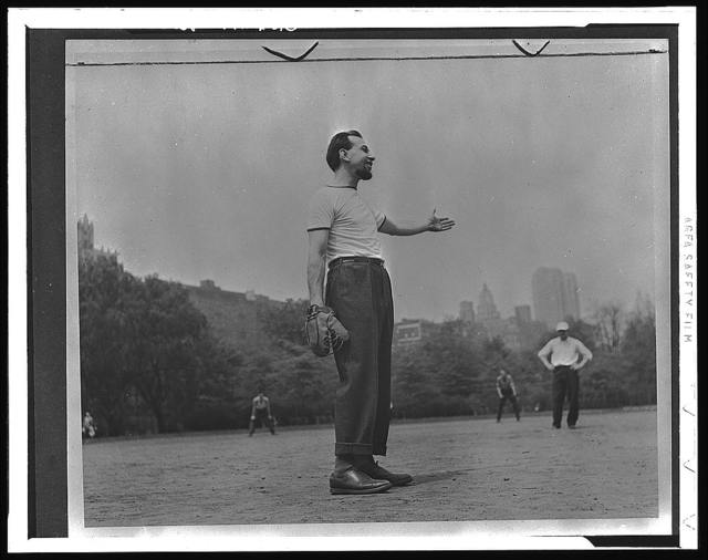[Jose Ferrer playing softball with other members of Othello production, Central Park, New York City]