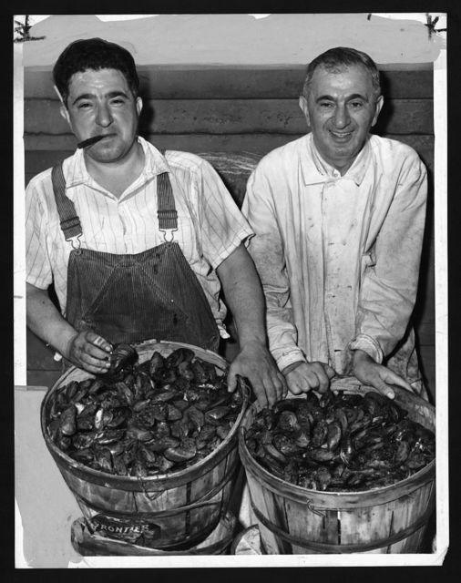[Joseph Apicella (left) and Ralph Apicella (right) with baskets of mussels at the Fulton Fish Market] / World Telegram & Sun photo by F. Palumbo.