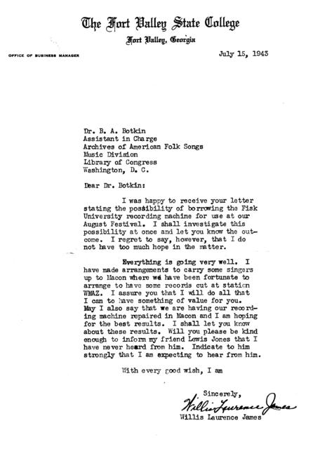 July 15, 1943, letter from Willis Laurence James to B.A. Botkin