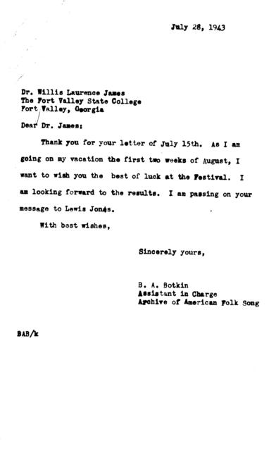 July 28, 1943, letter from B.A. Botkin to Willis Laurence James