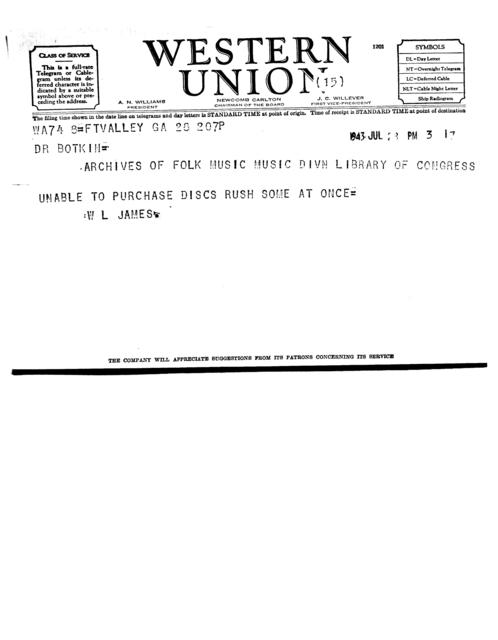 July 28, 1943, telegram from Willis Laurence James to B.A. Botkin