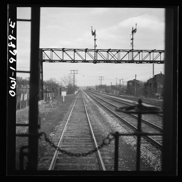 Kansas City, Missouri. Atchison, Topeka, and Santa Fe Railroad tracks, approaching Kansas City