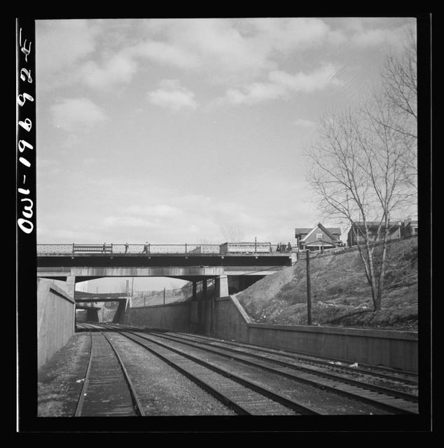 Kansas City, Missouri. Atchison, Topeka, and Santa Fe Railroad tracks, going through Kansas City