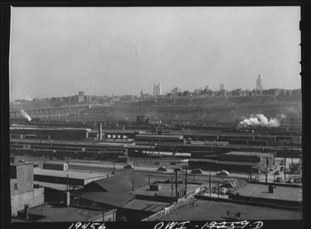 Kansas City, Missouri. Looking across the freight and warehouse district toward the metropolitan area of the city