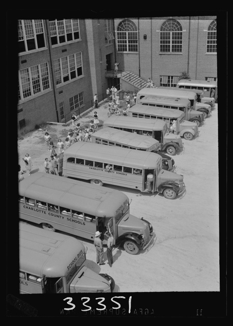 Keysville, Virginia. Randolph Henry High School. Buses bring students from miles around as the school covers an area of 496 square miles. Some children come as far as thirty miles to school in one of the seventeen buses, some of which are driven by seniors