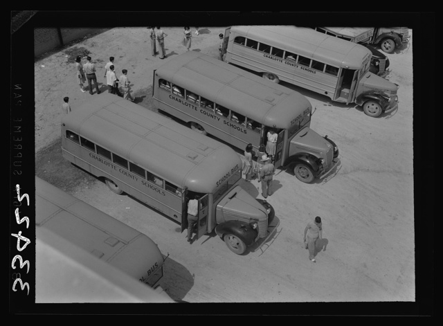 Keysville, Virginia. Rnadolph Henry High School. Buses bring children from miles around as the school covers an area of 496 square miles. Some children come as many as thirty miles to school in one or the other of the seventeen buses, some of which are driven by seniors