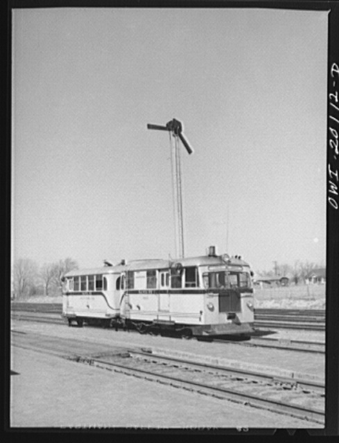 Kiowa, Kansas. At Atchison, Topeka and Santa Fe rail detector car. These cars are actually travelling scientific instruments, which not only detect faulty rails but also record the place and extent of the defect