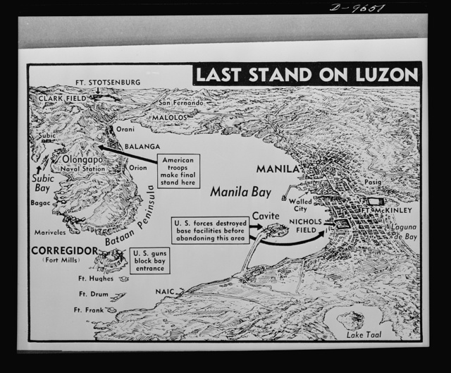 Last ditch stand in Luzon. On a rugged, mountainous peninsula and a heavily fortified island American and Filipino troops made their final stand against Japanese invaders of Luzon. Map shows the Bataan Peninsula-Borregidor-Manila area where the U.S. and Japanese forces clashed