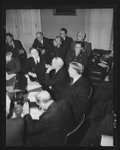 Lend-lease hearings. Secretary of War Henry L. Stimson testifies in support of continuance of the lend-lease Act before the House Foreign Affairs Committee, as Edward R. Stettinius, Jr., lend-lease administrator, looks on