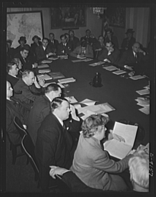 Lend-lease hearings. The House Foreign Affairs Committee hears witnesses, including lend-lease administrator Edward R. Stettinius, Jr., Secretaries Stimson and Wicard, and war shipping administrator Emory S. Land, in support of the continuance of the lend-lease act