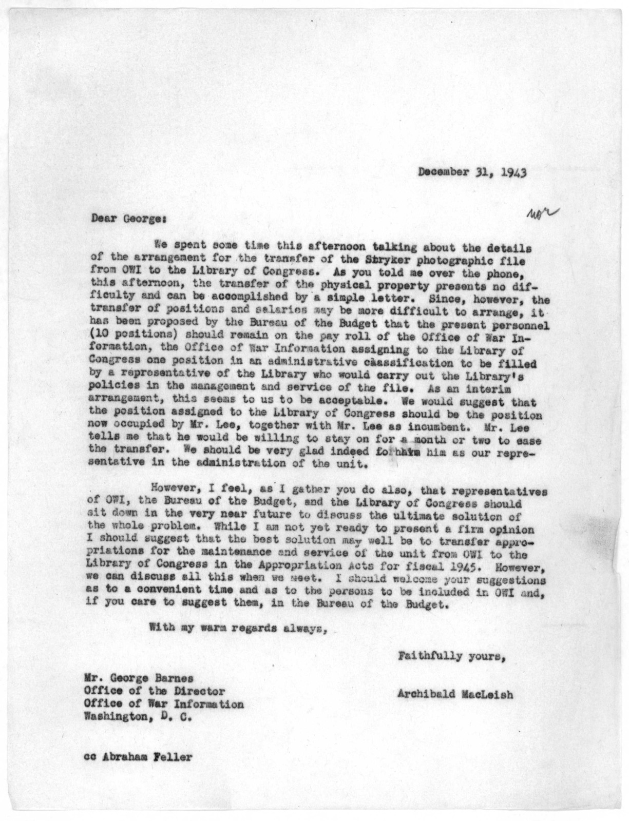 Letter from Archibald MacLeish to George Barnes, December 31, 1943
