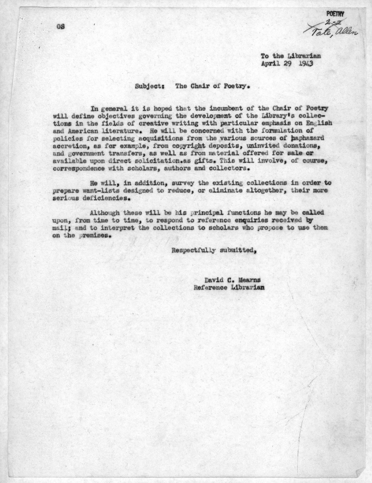 Letter from David C. Mearns to Archibald MacLeish, April 29, 1943