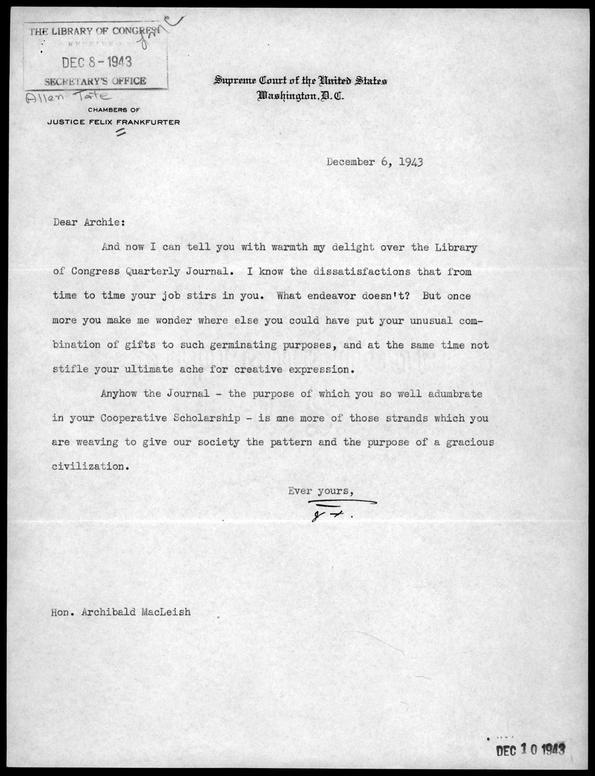 Letter from Felix Frankfurter to Archibald MacLeish, December 6, 1943
