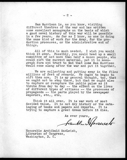 Letter from Franklin D. Roosevelt to Archibald MacLeish, June 9, 1943