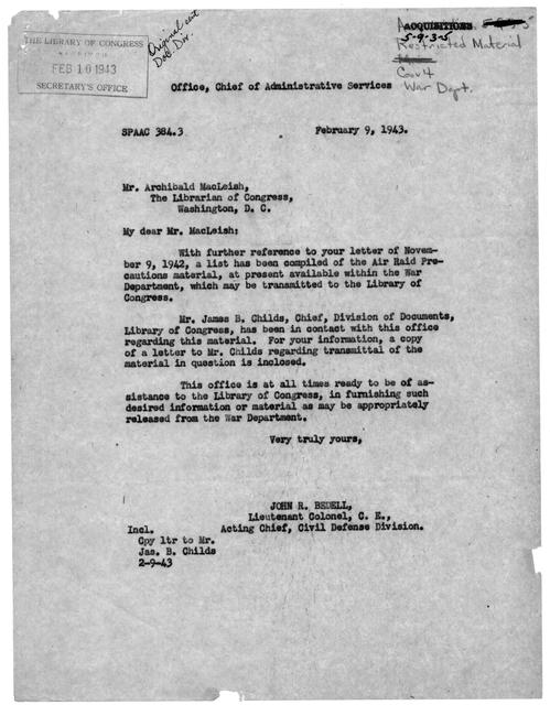 Letter from John R. Bedell to Archibald MacLeish, February 9, 1943