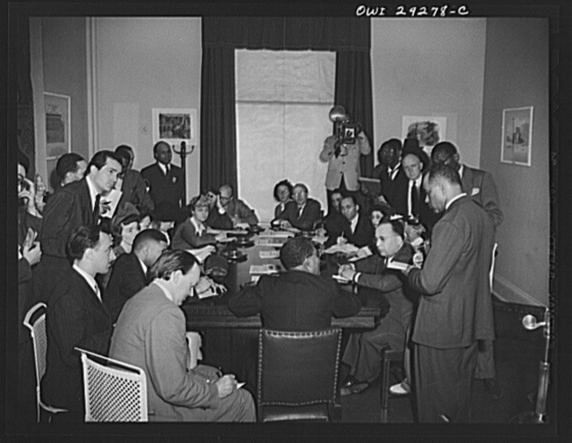 Liberian president holds Blair House press conference. His Excellency, Edwin Barclay, President of the Republic of Liberia, talked readily and easily about the strategic positions of his country and the potentialities of its rubber industry in a press conference at the historic Blair House on Thursday, 27, 1943
