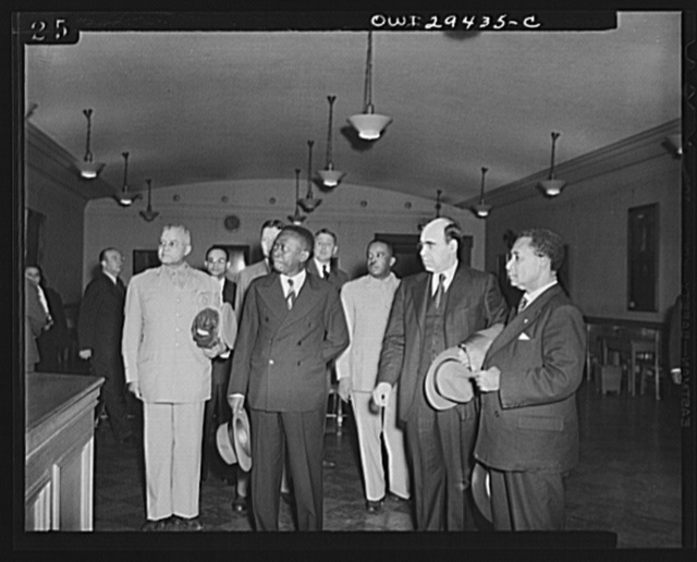 Liberian president visits Howard University. His Excellency, Edwin Barclay, President of the Republic of Liberia, visited Howard University in Washington, D.C. on Friday, May 29, 1943. Shown left to right are Brigadier General Benjamin O. Davis, U.S. military aide ot President Barclay; President-Elect W.V.S. Tubman; Captain Alford Russ of the Liberian Frontier Force; Dr. Mordecai W. Johnson, President of Howard University and President Barclay
