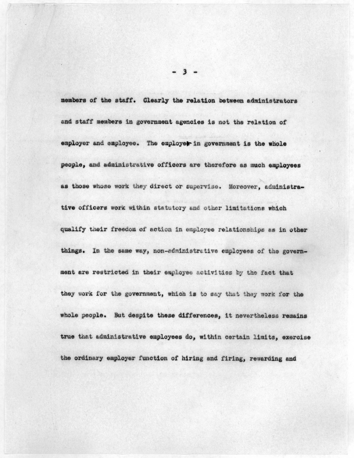"""""""Library of Congress Employee Relations Program, Personnel Administration,"""" by Archibald MacLeish, May 1943"""
