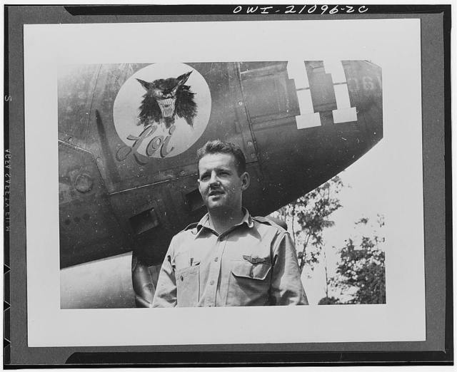 Lieutenant Charles S. Gallup, Chicago, Illinois, a member of the United States Army Air forces fighter squadron which brought down 72 Japanese planes in combat over New Guinea in 1943