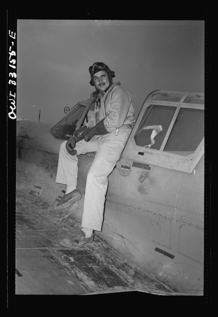 """Lieutenant Robert """"Rocky"""" Byrnes, twenty-six, Saint Louis, Missouri, flying with the 64th Squadron of the 57th Fighter Group, returning after destroying three German Messerschmitt-109s in aerial victory over the Sicilian straits on April 18, in which the 57th United States Fighter Group of the 9th Air Force destroyed seventy-four enemy planes"""