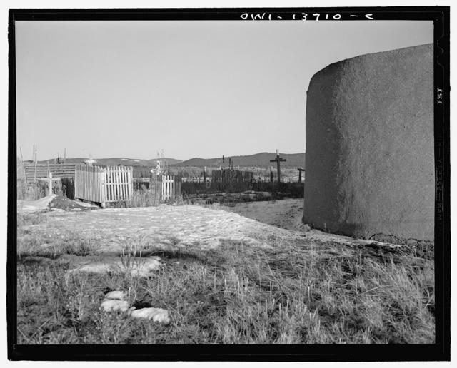 Llano, near Penasco, New Mexico. The graveyard behind the church of Penitente Miranda
