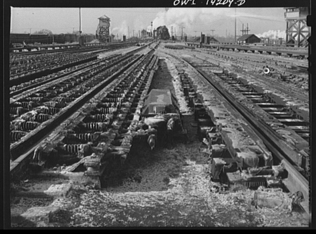 Looking toward the hump of the Indiana Harbor Belt railroad. In the foreground are some of the retarders