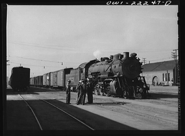 Los Angeles, California. Atchison, Topeka, and Santa Fe local freight train ready to leave the yard