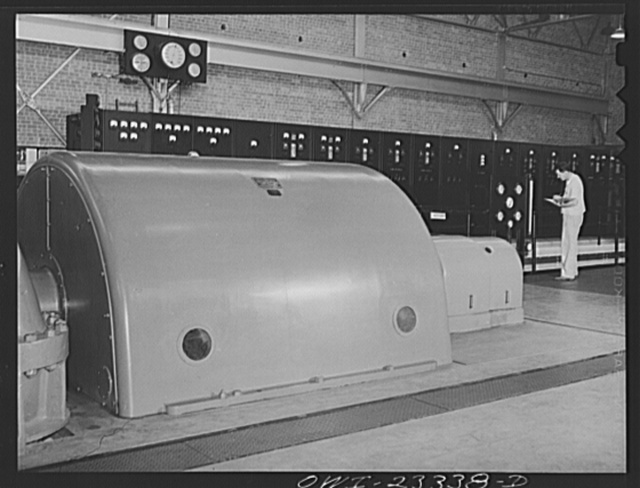 Lufkin, Texas. Southland paper mill. Power room with the turbo generator in foreground
