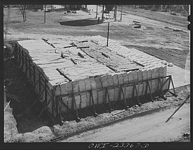 Lufkin, Texas. Southland paper mill. Stockpile of Kraft (chemical) pulp which is added to southern pine pulp in making newsprint