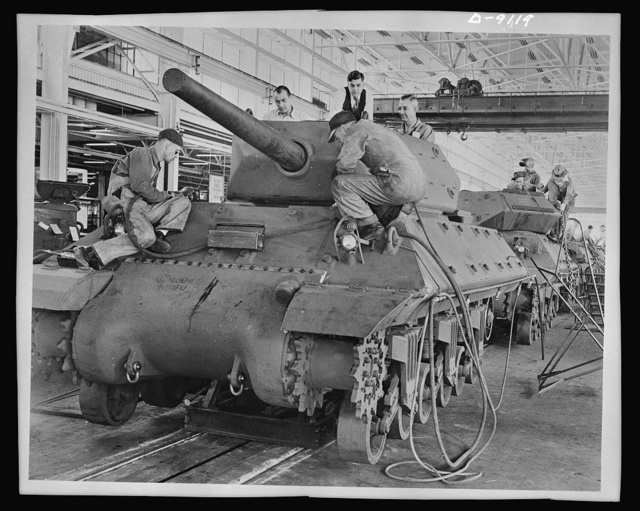 "M-10 tank destroyer. The M-10 ""tank destroyer,"" shown in mass production at General Motors tank arsenal. Designed with sufficient speed and firepower to seek out and demolish any armed vehicle of the enemy. The new destroyer already has been tested in battle"