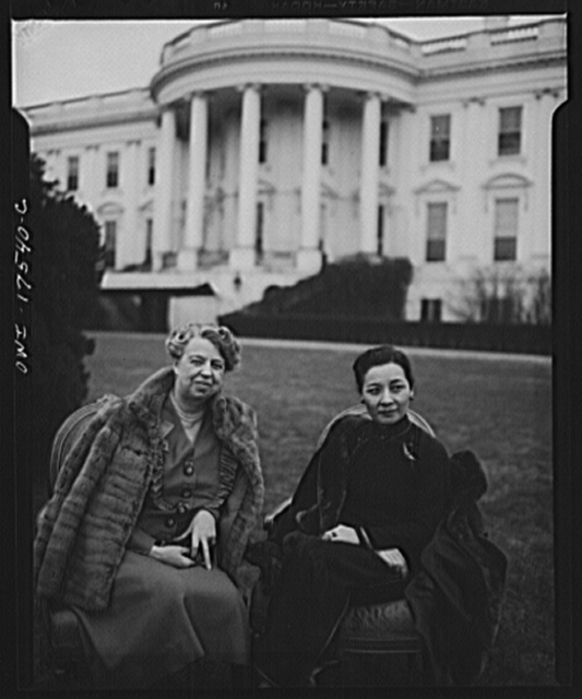 Madame Chiang Kai-Shek and Mrs. Franklin D. Roosevelt are shown on the White House lawn February 24, 1943 during the former's visit to the Capitol