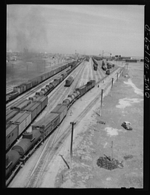 Making up trains in an Atchison, Topeka and Santa Fe Railroad yard