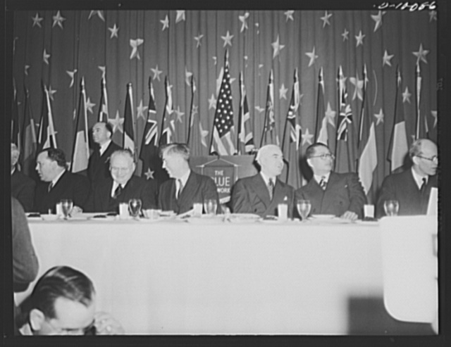 Maxim Litvinov, Russian ambassador; Vice-President Henry A. Wallace; lend-lease administrator Edward R. Stettinius, Jr., and T.V. Soong, Chinese foreign minister, eat dehydrated food at luncheon in observance of the second anniversary of lend-lease, at the Hotel Statler, Washington, D.C., on March 11, 1943