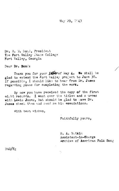 May 20, 1943, letter from B.A. Botkin to H.M. Bond